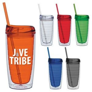 15 Oz. Cool Cup Collection Cup w/Color Matching Lid & Straw