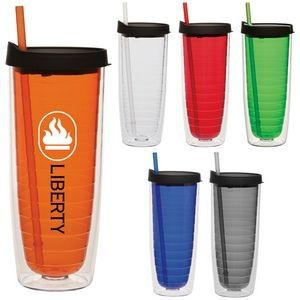 20 Oz. Fun Cup Collection Tumbler w/Color Straw & Black Lid